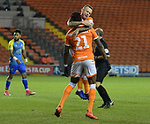 18-12-2018  FAC2 Replay Blackpool v Solihull Moor<br /> <br /> Armand Gnanduillet, celebrates his Blackpool opener with skipper Jay Spearing.