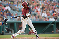 Frisco RoughRiders Brandon Davis (6) bats during a Texas League game against the Amarillo Sod Poodles on July 12, 2019 at Dr Pepper Ballpark in Frisco, Texas.  (Mike Augustin/Four Seam Images)