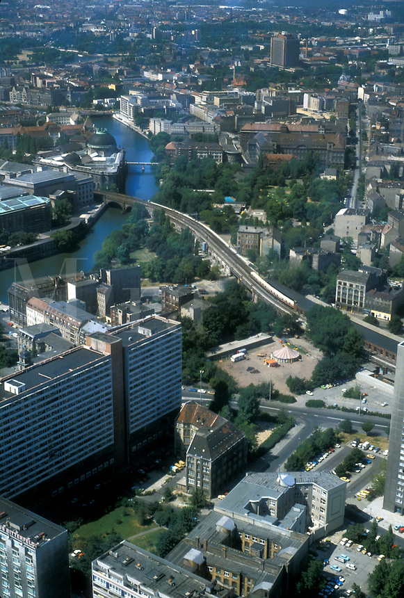 AJ2191, Berlin, Germany, Europe, Aerial view of the city of former East Berlin. Berlin the capital city of Germany from the television tower (fernsehturm). It is Berlin's tallest structure at 365 metres (1198 feet).