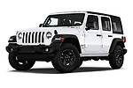 Stock pictures of low aggressive front three quarter view of a 2020 Jeep Wrangler Unlimited Sport S 5 Door SUV