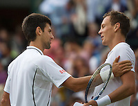 03-07-13, England, London,  AELTC, Wimbledon, Tennis, Wimbledon 2013, Day nine, Novak Djokovic (SRB) is congratulated  by  Berdych® who he defeated in the quarterfinal<br /> <br /> <br /> <br /> Photo: Henk Koster
