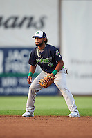 Vermont Lake Monsters second baseman Jesus Lopez (9) during a game against the Auburn Doubledays on July 12, 2016 at Falcon Park in Auburn, New York.  Auburn defeated Vermont 3-1.  (Mike Janes/Four Seam Images)