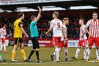 Fraser Franks of Stevenage (5) is sent off bt Referee, Mr David Webb, during the Sky Bet League 2 match between Stevenage and Northampton Town at the Lamex Stadium, Stevenage, England on 19 March 2016. Photo by David Horn / PRiME Media Images.