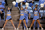 30 December 2014: UNC cheerleaders. The University of North Carolina Tar Heels hosted the University at Albany Great Danes at Carmichael Arena in Chapel Hill, North Carolina in a 2014-15 NCAA Division I Women's Basketball game. UNC won the game 71-56.