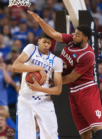 Kentucky Wildcats forward Anthony Davis grabs a rebound against Indiana Hoosiers forward Christian Watford. Kentucky faced Indiana during the Sweet 16 round of the 2012 NCAA Tournament at the Georgia Dome in Atlanta,  March 23, 2012. Photo by