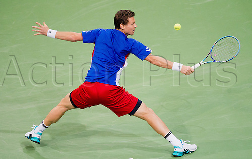 06.03.2016. Hannover, Germany.  Tomas Berdych of the Czech Republic returns the ball during the 1st round singles tennis match of the Davis Cup between Kohlschreiber (Germany) and Berdych (Czech Republic) at the TUI Arena in Hanover, Germany