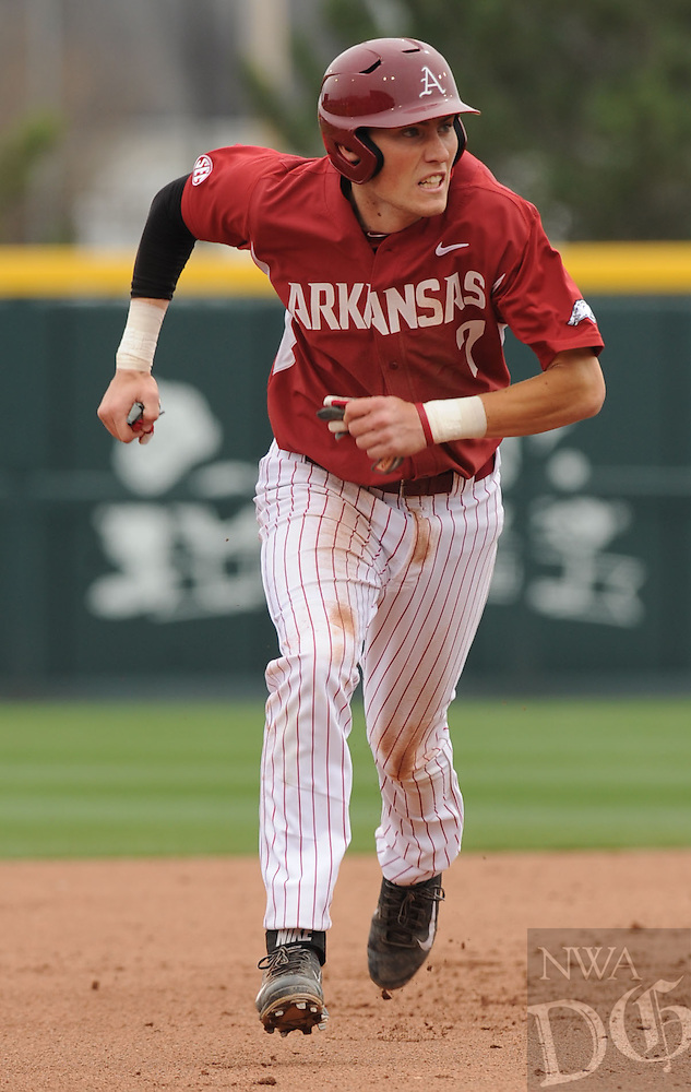 NWA Democrat-Gazette/ANDY SHUPE - Bobby Wernes of Arkansas heads to third against LSU during the fourth inning Saturday, March 21, 2015, at Baum Stadium in Fayetteville. Visit nwadg.com/photos for more photos from the game.