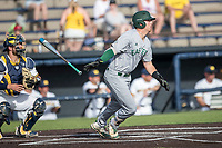 Eastern Michigan Eagles outfielder John Montgomery (44) follows through on his swing during the NCAA baseball game against the Michigan Wolverines on May 16, 2017 at Ray Fisher Stadium in Ann Arbor, Michigan. Michigan defeated Eastern Michigan 12-4. (Andrew Woolley/Four Seam Images)