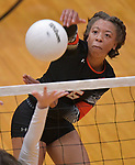 Edwardsville's Alexa Harris slams the ball at O'Fallon at Edwardsville High School on Tuesday October 2, 2018. Tim Vizer/Special to STLhighschoolsports.com