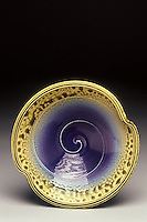 Hand made ceramic bowl with spiral accent by artist Mark Hudak