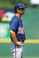 Gwinnett Braves manager Randy Ready (20) coaches third base during the International League game against the Charlotte Knights at Knights Stadium on July 28, 2013 in Fort Mill, South Carolina.  The Knights defeated the Braves 6-1.  (Brian Westerholt/Four Seam Images)