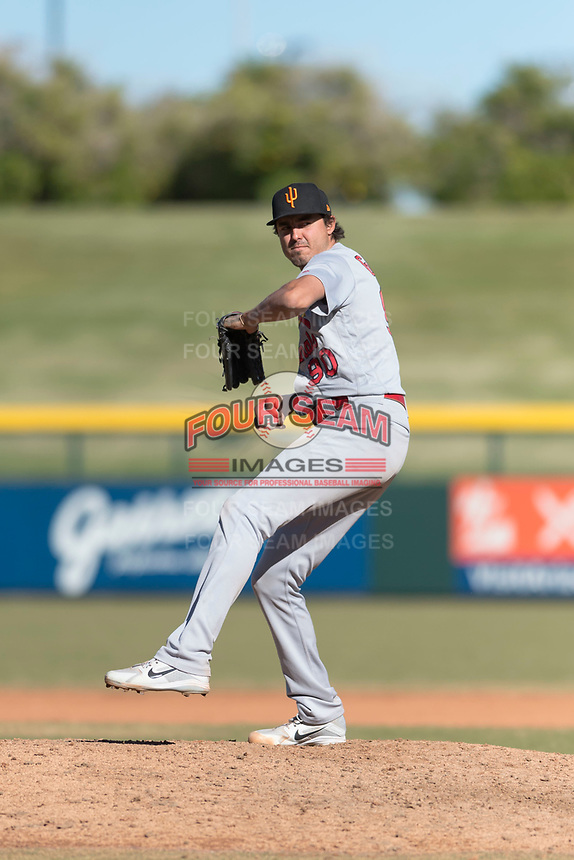 Surprise Saguaros relief pitcher Conner Greene (90), of the St. Louis Cardinals organization, delivers a pitch during an Arizona Fall League game against the Mesa Solar Sox at Sloan Park on November 15, 2018 in Mesa, Arizona. Mesa defeated Surprise 11-10. (Zachary Lucy/Four Seam Images)