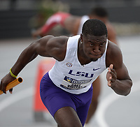 NWA Democrat-Gazette/ANDY SHUPE<br /> LSU's Kary Vincent competes Saturday, May 11, 2019, in the 4x100-meter relay during the SEC Outdoor Track and Field Championships at John McDonnell Field in Fayetteville. Visit nwadg.com/photos to see more photographs from the meet.