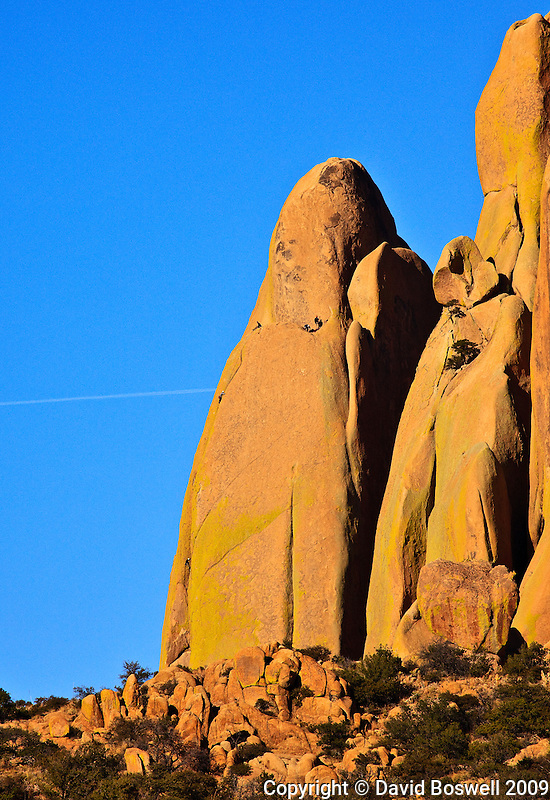 A party of climbers on Rockfellow Dome in the Cochise Stronghold of the Dragoon Mountains in Southern Arizona.