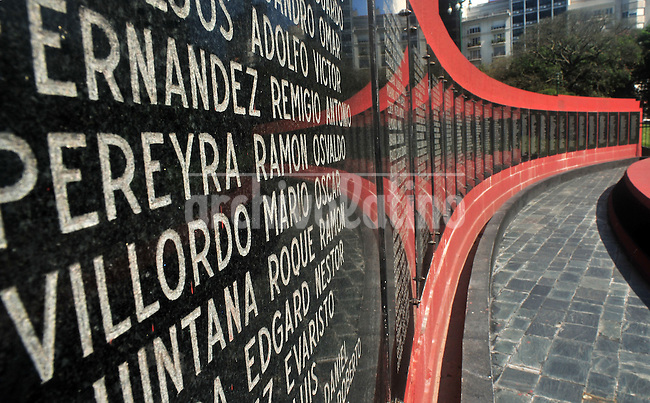 Faklands War memorial in San Martin square, Buenos Aires dowtown, with the names of all the soldiers dead during the conflict between April and June 1982.