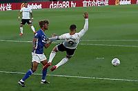 10th July 2020; Craven Cottage, London, England; English Championship Football, Fulham versus Cardiff City; Dion Sanderson of Cardiff City pulls down Aleksandar Mitrovic of Fulham and gives away a penalty in the 35th minute