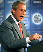 United States President George W. Bush addresses the Organization of American States at the OAS headquarters Thursday July 21,2005 in Washington, DC. <br /> Credit: Joe Marquette - Pool via CNP