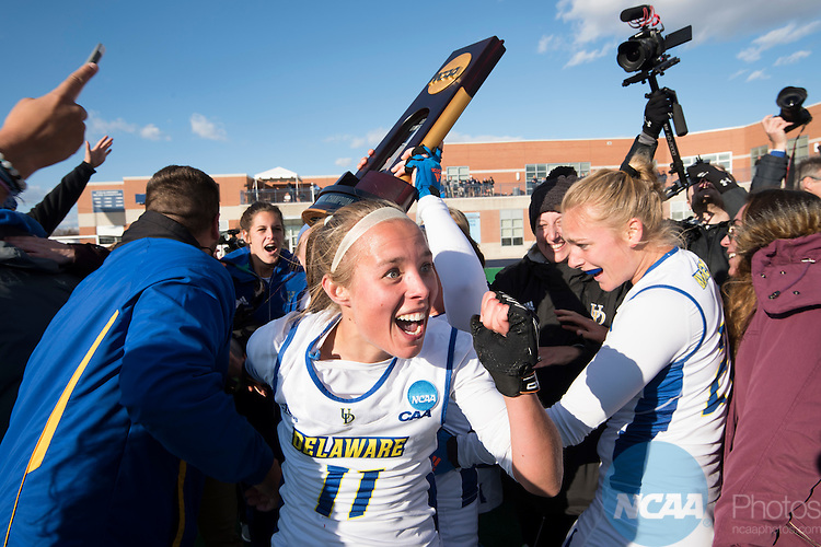 NORFOLK, VA - NOVEMBER 20:  Lisa Giezeman (11) of the University of Delaware celebrates their victory over the University of North Carolina during the Division I Women's Field Hockey Championship held at the LR Hill Sports Complex on November 20, 2016 in Norfolk, Virginia.  Delaware defeated North Carolina 3-2 for the national title. (Photo by Jamie Schwaberow/NCAA Photos via Getty Images)