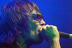 """FORMER STONE ROSES SINGER IAN BROWN SINGING AT CARDIFF UNIVERSITY STUDENTS UNION ON FRIDAY NIGHT. AT THE START OF THE GIG HE SANG """"GEORGIE BEST SUPERSTAR"""" AS A TRIBUTE TO THE FOOTBALL LEGEND WHO DIED EARLIER THAT DAY IN LONDON."""