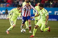 Atletico de Madrid´s Gimenez and Barcelona´s Lionel Messi and Luis Suarez during 2014-15 Spanish King Cup match between Atletico de Madrid and Barcelona at Vicente Calderon stadium in Madrid, Spain. January 28, 2015. (ALTERPHOTOS/Luis Fernandez) /nortephoto.com<br />