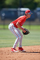 Philadelphia Phillies Nick Maton (6) during a Minor League Spring Training game against the Pittsburgh Pirates on March 23, 2018 at the Carpenter Complex in Clearwater, Florida.  (Mike Janes/Four Seam Images)
