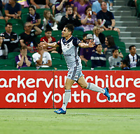 1st February 2020; HBF Park, Perth, Western Australia, Australia; A League Football, Perth Glory versus Melbourne Victory; Andrew Nabbout of Melbourne Victory celebrates his 58th minute goal that put Melbourne in front 2-1