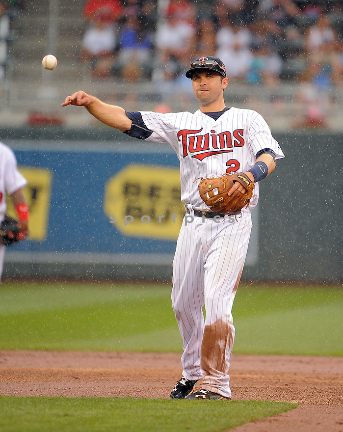 Minnesota Twins Brian Dozier (2) during a game against the Kansas City Royals on August 17, 2014 at Target Field in Minneapolis, MN. The Royals beat the Twins 12-6.