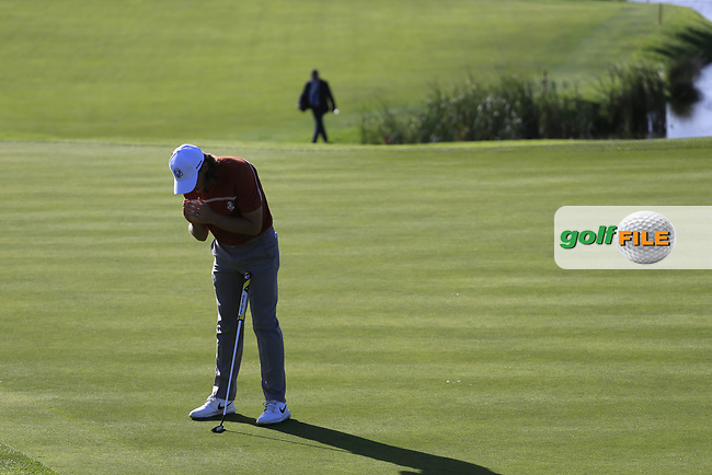 Tommy Fleetwood (Team Europe) misses his putt on the 10th green during Saturday's Foursomes Matches at the 2018 Ryder Cup 2018, Le Golf National, Ile-de-France, France. 29/09/2018.<br /> Picture Eoin Clarke / Golffile.ie<br /> <br /> All photo usage must carry mandatory copyright credit (© Golffile   Eoin Clarke)