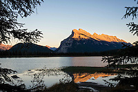 Golden Hour view of Mount Rundle from Vermillion Lakes, Banff National Park, Alberta, Canada