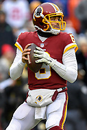 Landover, MD - December 9, 2018: Washington Redskins quarterback Mark Sanchez (6) drops back to pass during game between the New York Giants and Washington Redskins at FedEx Field in Landover, MD. The Giants defeated the Redskins 40-16 dropping the Redskins to 6-7 on the season. (Photo by Phillip Peters/Media Images International)