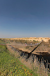 Israel, Besor region in the northern Negev. The suspension bridge over Besor stream