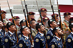 Spainsh soldiers of the Air Forces and the Land Army (t) during a military parade marking the Armed Forces Day on June 2, 2012 in Valladolid.(ALTERPHOTOS/Acero)
