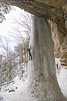 Ice climbing during Michigan Ice Fest at Pictured Rocks National Lakeshore in Munising Michigan Upper Peninsula.