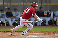 Indiana Hoosiers catcher Kyle Schwarber #10 during a game against the Pittsburgh Panthers at the Big Ten/Big East Challenge at the Walter Fuller Complex on February 19, 2012 in St. Petersburg, Florida.  (Mike Janes/Four Seam Images)