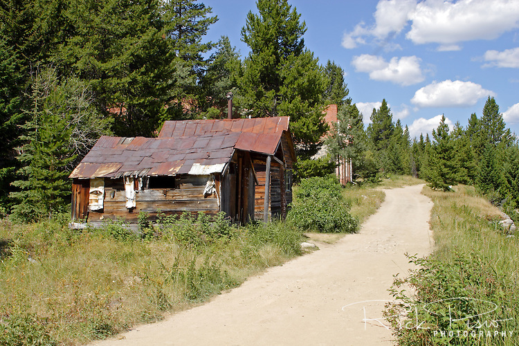 Main Street of the ghost town of Granite in Granite County, Montana. Granite thrived as a silver mining town into the 1890's and is now completely abandoned.
