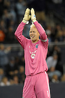 Jimmy  Nielsen goalkeeper Sporting KC applauds crowd at the end of the game..Sporting Kansas City defeated Montreal Impact 2-0 at Sporting Park, Kansas City, Kansas.