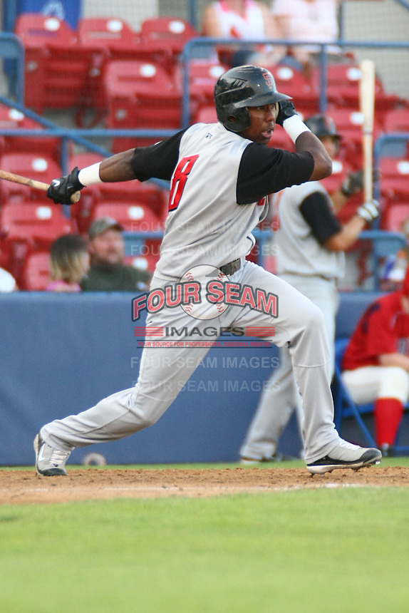 July 20 2008:  Francisco Peguero of the Salem-Keizer Volcanoes, Short Season Class-A affiliate of the San Francisco Giants, during a game at Home of the Avista Stadium in Spokane, WA.  Photo by:  Matthew Sauk/Four Seam Images