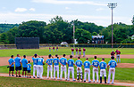 TORRINGTON,  CT-072419JS29--The Michigan Bulls and the South Troy Dodgers of New York state, line up for the National Anthem prior to their Mickey Mantle World Series game Wednesday at Fuessenich Park in Torrington. <br />  Jim Shannon Republican American