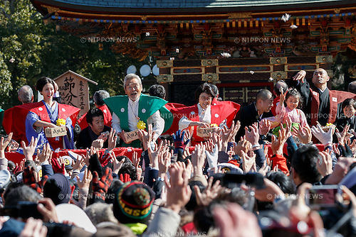 (L to R) Actress Nanao, actor Shunsuke Kariya, comedian Yasuko Mitsuura and kabuki actor Ichikawa Ebizo XI, take part in the Setsubun festival at Naritasan Shinshoji Temple on February 3, 2017, in Chiba, Japan. Setsubun is an annual festival celebrated on February 3rd marking the day before the beginning of Spring. Japanese families throw soybeans out of the house to ward off evil spirits and into the house to invite good fortune. Japanese actors and sumo wrestlers are invited to participate in the ceremony at Naritasan Shinshoji Temple which holds one of the biggest events in Japan. (Photo by Rodrigo Reyes Marin/AFLO)