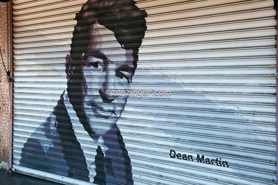 Hollywood, CA, Hollywood Boulevard, in Los Angeles,<br /> Dean Martin, painted on Roll up Security Door, American singer, film actor and comedian