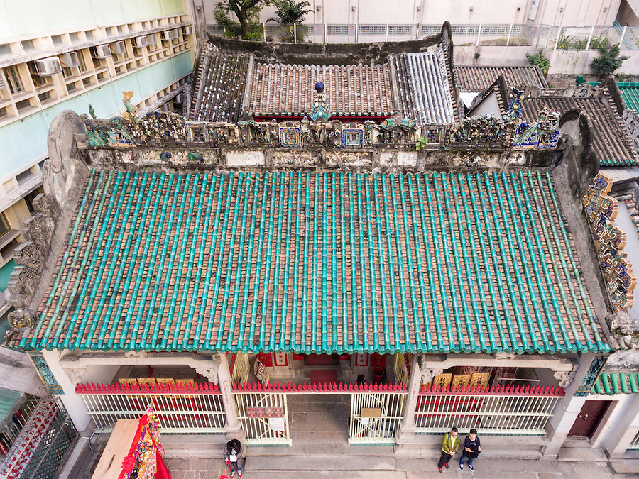 A View Of The Man Mo Temple Roof From A Drone.
