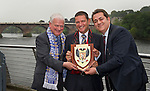 26.7.2012. Eskisehirspor Civic Reception,Perth Council Offices..Shield presentation, From left, Cllr Ian Miller with St Johnstone Chairman Steve Brown and Eskisehirspor President Halil Unal in Tay Street, Perth..COPYRIGHT: Perthshire Picture Agency..Tel. 01738 623350 / 07775 852112.