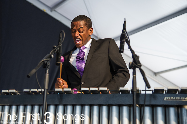 Members of The Northwestern University Jazz Ensemble perform during the New Orleans Jazz & Heritage Festival in New Orleans, LA.