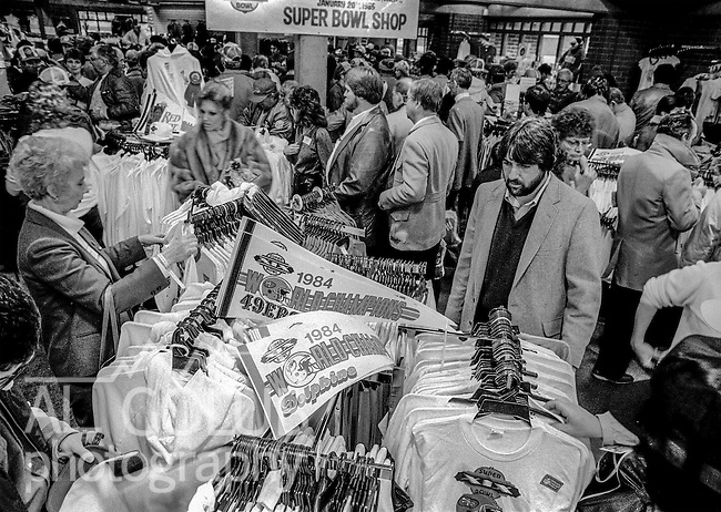 Pennants anticipate both victories at souvenir store near the Super Bowl XIX tailgate on the Stanford University campus. The San Francisco 49ers defeated the Miami Dolphins 38-16 on Sunday, January 20, 1985.