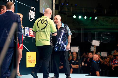 24.07.2016. Empress Ballroom, Blackpool, England. BetVictor World Matchplay Darts. Michael van Gerwen shake hands Phil Taylor