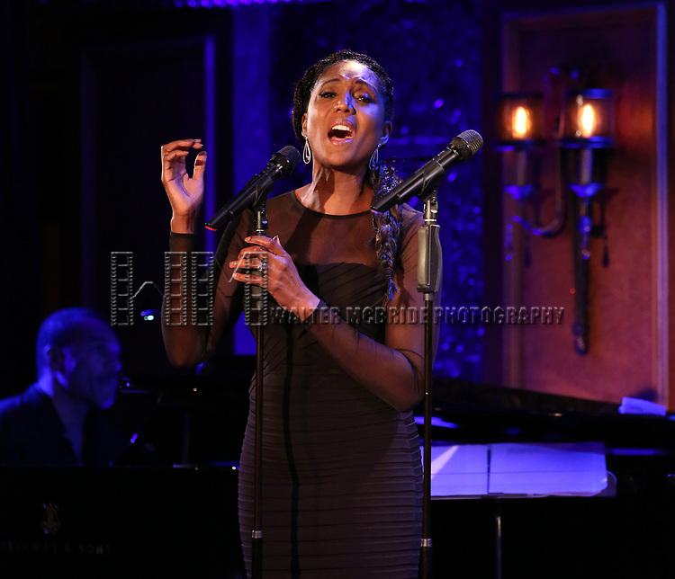"""Nita Whitaker on stage during a Song preview performance of the BeBe Winans Broadway Bound Musical """"Born For This"""" at Feinstein's 54 Below on November 5, 2018 in New York City."""
