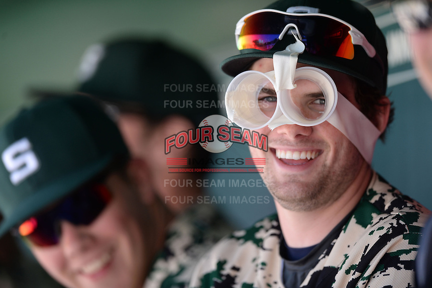 Slippery Rock infielder Jake Nogalo (7) sporting some homemade shades during a game against Kentucky Wesleyan College at Jack Russell Stadium on March 14, 2014 in Clearwater, Florida.  Slippery Rock defeated Kentucky Wesleyan 18-13.  (Mike Janes/Four Seam Images)