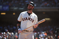 SAN FRANCISCO, CA - JULY 31:  Brandon Belt #9 of the San Francisco Giants waits in the on deck circle during the game against the Washington Nationals at AT&T Park on Sunday, July 31, 2016 in San Francisco, California. Photo by Brad Mangin