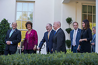 November 2, 2017 - Washington, District of Columbia, United States of America - United States House of Representatives Ways and Means Committee Chairman, Representative Kevin Brady, Republican of Texas, center right, and United States House of Representatives Majority Whip,Steve Scalise, Republican of Louisiana, center left, exit the West Wing of the White House with members of the House of Representatives Ways and Means Committee as they prepare to speak with reporters following a meeting between Congressional Republicans and United States President Donald J. Trump where they discussed President Trump's Tax Plan at the White House in Washington, D.C. on November 2nd, 2017. Credit: Alex Edelman / CNP /MediaPunch