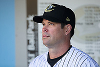 Charlotte Knights manager Mark Grudzielanek (15) prior to the game against the Durham Bulls at BB&T BallPark on May 16, 2017 in Charlotte, North Carolina.  The Knights defeated the Bulls 5-3. (Brian Westerholt/Four Seam Images)